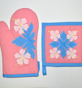 Quilted Potholder Set – Flowers Pink