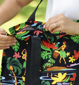 Beach Tote Bag – Medium – Hawaiian Hula Black