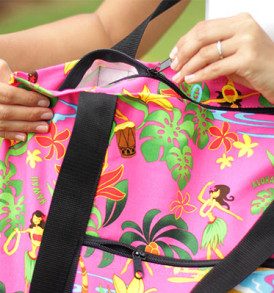 Beach Tote Bag – Medium – Hawaiian Hula Pink