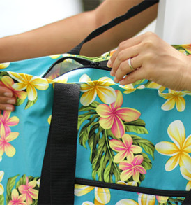 Beach Tote Bag – Large – Cute Plumeria Teal