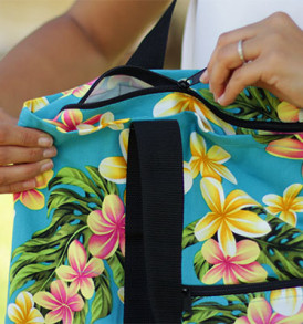 Beach Tote Bag – Medium – Cute Plumeria Teal