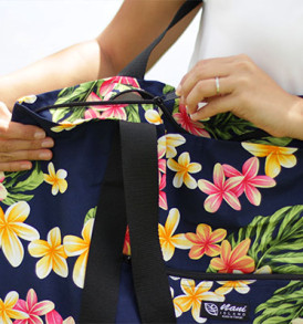 Beach Tote Bag – Large – Cute Plumeria Navy