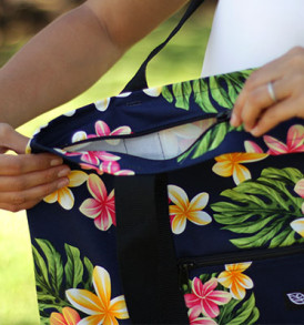 Beach Tote Bag – Medium – Cute Plumeria Navy