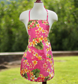 Adult Aprons – Plumeria Pink