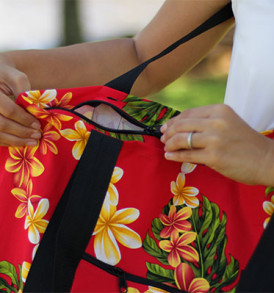 Beach Tote Bag – Medium – Cute Plumeria Red