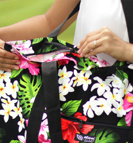 Beach Tote Bag – Large – Luxury Hibiscus Black
