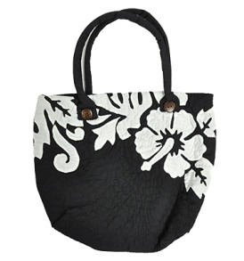 Hawaiian Quilt Purse – Manoa – Hibiscus Black