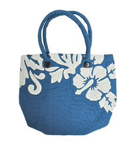 Hawaiian Quilt Purse – Manoa – Hibiscus Blue
