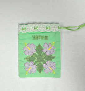 Quilted Drawstring Pouch Hibiscus-Green