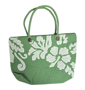Hawaiian Quilt Purse – Manoa – Hibiscus Green
