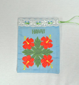 Quilted Drawstring Pouch Hibiscus-Light Blue