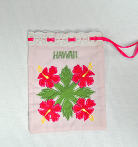 Quilted Drawstring Pouch Hibiscus-Pink