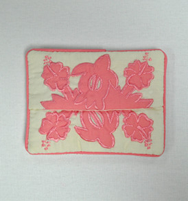 Quilted Tissue Holder Hibiscus-Pink