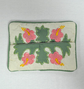 Quilted Tissue Holder Hibiscus-Pink Green