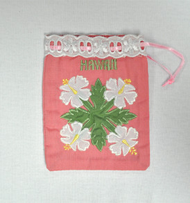 Quilted Drawstring Pouch Hibiscus-Pink White