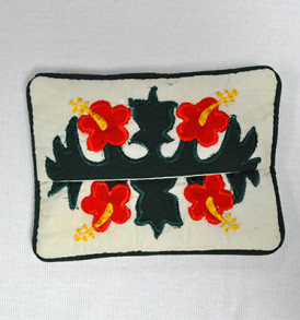 Quilted Tissue Holder Hibiscus-Red Green