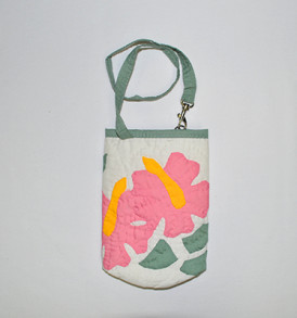 Quilted Water Bottle Holder – Hibiscus-White