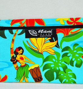 Canvas Coin Purse – Large Hawaiian Hula Girl-Aqua