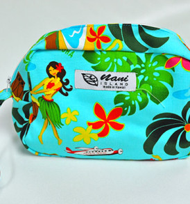 Canvas Wristlet Pouch Hawaiian Hula Girl-Aqua