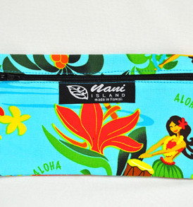 Canvas Zipper Pouch Hawaiian Hula Girl-Aqua
