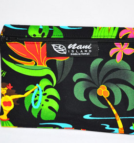 Canvas Coin Purse – Large Hawaiian Hula Girl-Black