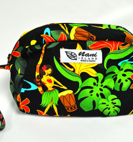 Canvas Wristlet Pouch Hawaiian Hula Girl-Black