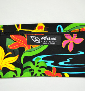 Canvas Zipper Pouch Hawaiian Hula Girl-Black