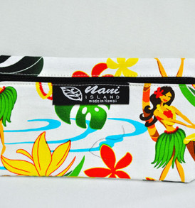 Canvas Zipper Pouch Hawaiian Hula Girl-Cream