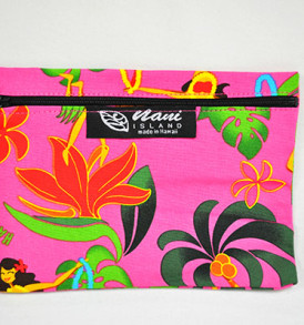 Canvas Coin Purse – Large Hawaiian Hula Girl-Pink