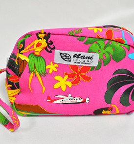 Canvas Wristlet Pouch Hawaiian Hula Girl-Pink