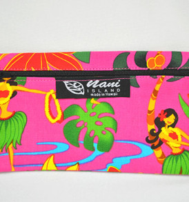 Canvas Zipper Pouch Hawaiian Hula Girl-Pink