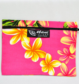 Canvas Coin Purse – Large Plumeria-Pink
