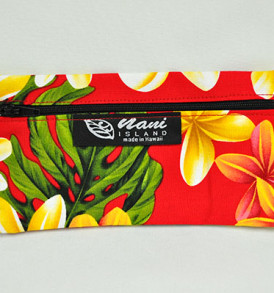 Canvas Zipper Pouch Plumeria-Red