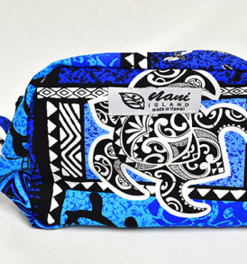 Canvas Wristlet Pouch Tapa-Blue