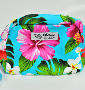 Canvas Wristlet Pouch Tropical-Aqua