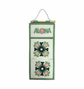 Hawaiian Quilt Letter Holder Turtle-Green