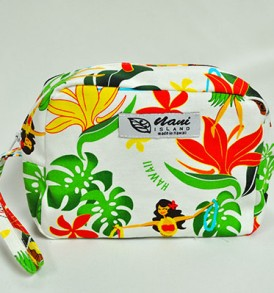 Canvas Wristlet Pouch Hawaiian Hula Girl-Cream