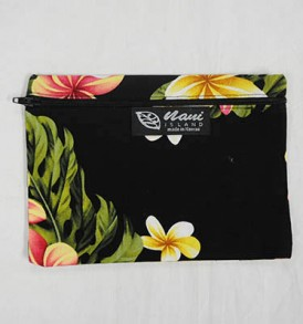 Canvas Zipper Pouch Cute Plumeria – Black