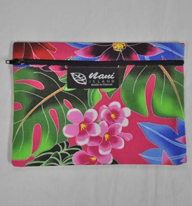 Canvas Zipper Pouch Hawaiian Garden – Pink