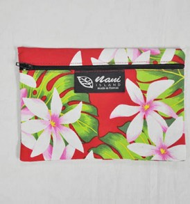 Canvas Zipper Pouch Tiare Lei – Red