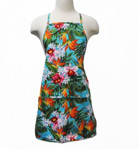 Adult Aprons – Bird of paradise Leaves Blue
