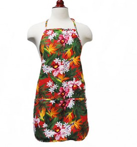 Adult Aprons – Bird of paradise Leaves Red