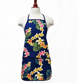 Adult Aprons – Cute Plumeria Navy