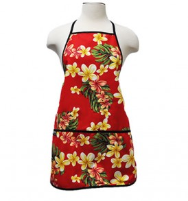 Adult Aprons – Cute Plumeria Red