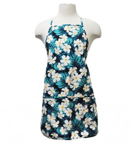Adult Aprons – Plumeria Monstera Blue