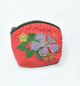 Quilted Coin Purse Small- Hibiscus & Monstera Coral Purple
