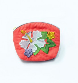 Quilted Coin Purse Small- Hibiscus & Monstera Coral White