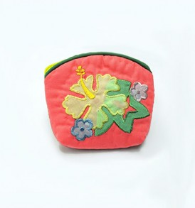 Quilted Coin Purse Small- Hibiscus & Monstera Coral Yellow