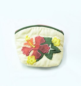 Quilted Coin Purse Small- Hibiscus & Monstera Cream Pink