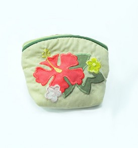 Quilted Coin Purse Small- Hibiscus & Monstera Light green Pink